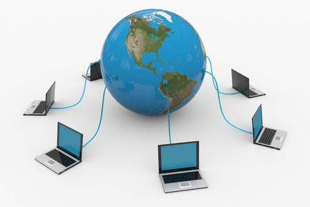 computer generated image: Global computer network. Internet concept. Computer generated image. Stock Photo