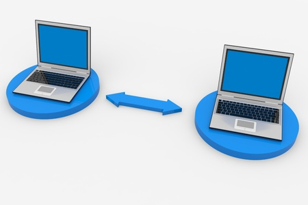 Two connected laptops. Computer network. Computer generated image. photo