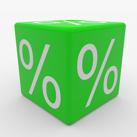 Green cube with percents. Computer generated image. photo