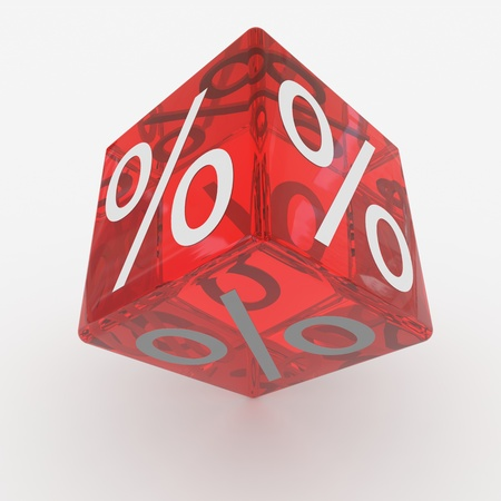 Red cube with percents. Computer generated image. photo