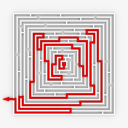 Red path from labyrinth. Right way. Concept solution. Computer generated image.