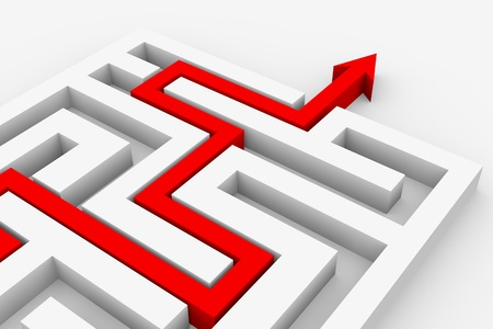 doolhof: Rode pijl gaat door het doolhof. Pad over labyrint. Computer gegenereerde afbeelding.