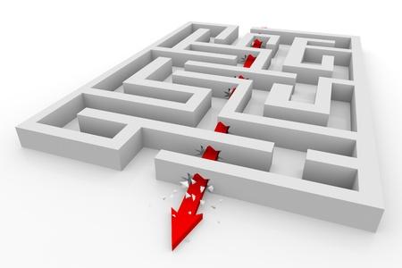 doolhof: Arrow gaat door de muren van het labyrint. Computer gegenereerde afbeelding. Stockfoto
