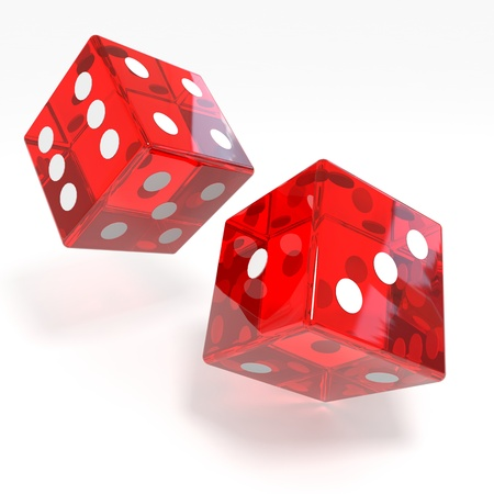 rolling: Red dices isolated on white. Computer generated image. Stock Photo