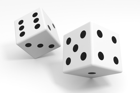 White dices isolated on white. Computer generated image.