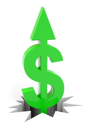 Green dollar sign with arrow up breaking floor. Concept of growth, rise, profit.  Computer generated image. photo
