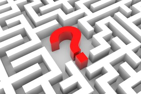 answer question: Punto interrogativo rosso all'interno labirinto bianco. Computer Generated Image. Archivio Fotografico
