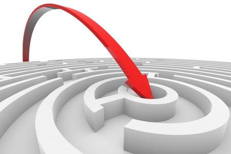 Pijl gaat naar het midden van het witte maze. Concept van succes. Computer gegenereerde afbeelding.
