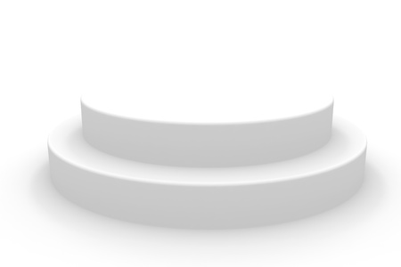 dais: 3D isolated empty white podium. Computer generated image.
