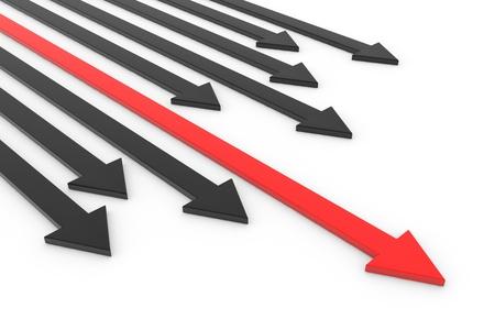dominacion: La flecha roja delante de flechas negras. Concepto de liderazgo, éxito y victoria. Imagen generada por ordenador.
