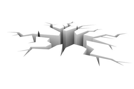 갈라진 금: 흰색에 접지 균열. 컴퓨터 이미지를 생성합니다.