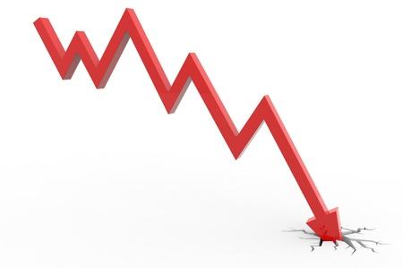 derrumbe: La flecha roja rompiendo el piso. El concepto de quiebra, colapso financiero, la depresi�n, el fracaso, la crisis de dinero. Imagen generada por ordenador.