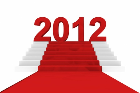 New year 2012 on a red carpet. Computer generated image. photo