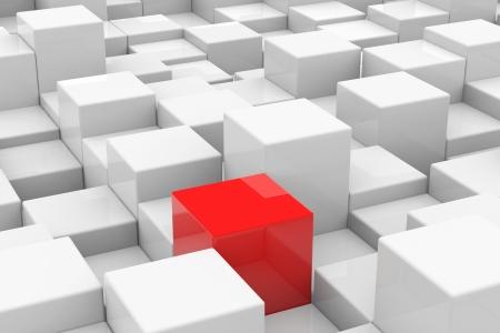 高さの違うホワイト キューブ間で赤いキューブ。ユニークなコンセプト。コンピューター生成イメージ。