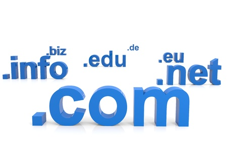 domains: 3D domain names. Internet concept. Computer generated image. Stock Photo