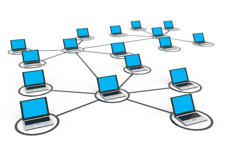 ラップトップと抽象的なコンピュータ ネットワーク。コンピューター生成イメージ。