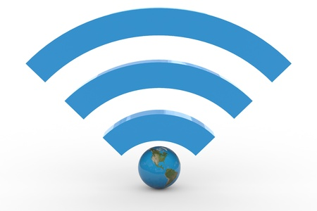 3D wifi sign with earth globe. High signal. Computer generated image. photo