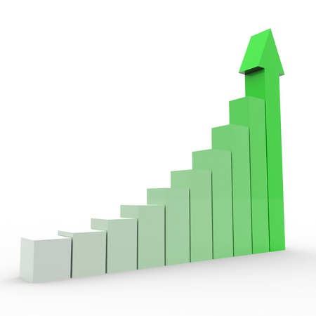 stock graph: Business graph with going up green arrow. Computer generated image.