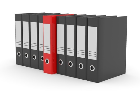 Row of black office folders and one red on white background. Computer generated image. Stock Photo - 11701527