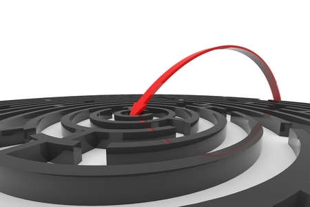 easy way: Arrow jumps to the center of the black maze. Concept of success. Computer generated image. Stock Photo