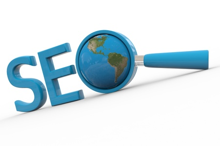 replacing: Blue word SEO with 3D globe and magnifying glass replacing letter O. Computer generated image.
