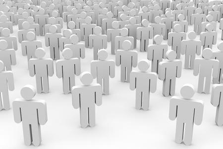 mucha gente: 3D multitud de personas. Imagen generada por ordenador. Foto de archivo