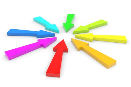 multidirectional: Color arrow pointing inwards. Computer generated image. Stock Photo