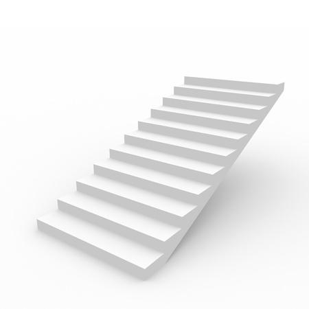 bajando escaleras: Escalera de blanco sobre fondo blanco. Imagen generada por ordenador.