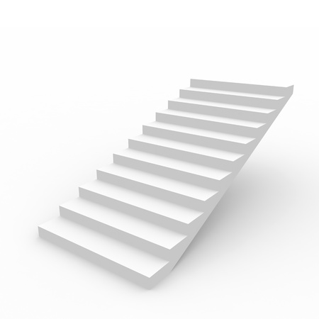 step up: White staircase isolated on white background. Computer generated image.