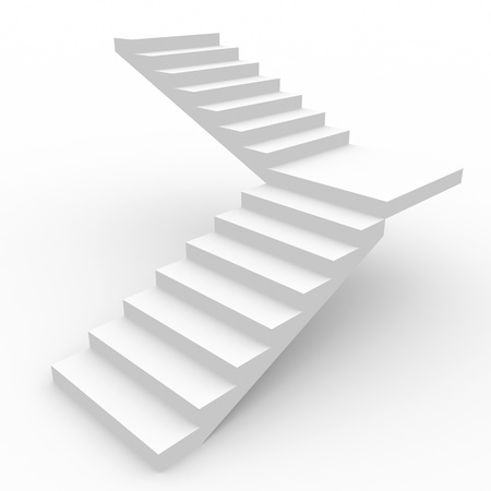 climbing up: White staircase isolated on white background. Computer generated image.