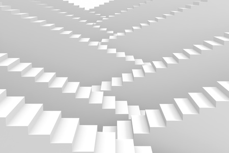 staircases: White staircases. Computer generated image. Stock Photo