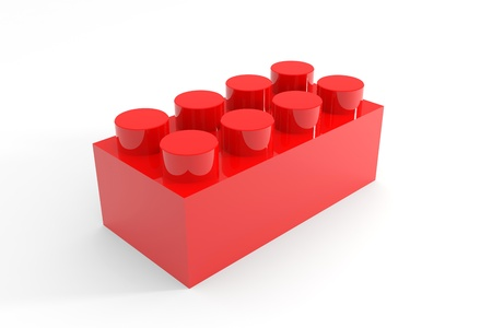 Red lego block toy isolated on white. Computer generated image. photo