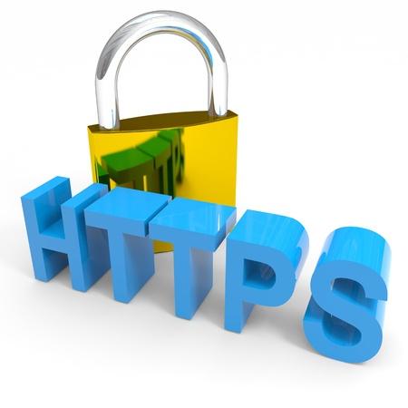 南京錠と HTTPS の単語。インターネットの安全性の概念。コンピューター生成イメージ。 写真素材