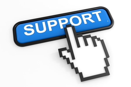 Blue button SUPPORT with hand cursor. Computer generated image. Stock Photo - 11701533