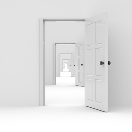 possibilities: Row of white open doors. Concept of possibilities. Computer generated image.