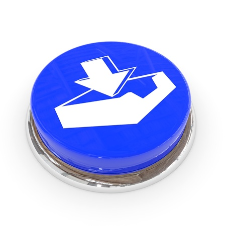 Blue round button with download sign. Computer generated image. photo