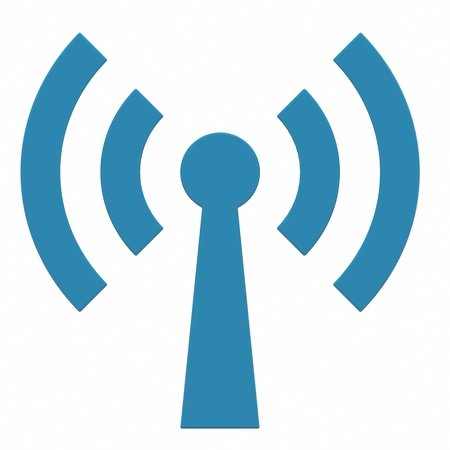 Abstract Wi-fi antenna on white background. Computer generated image. Stock Photo