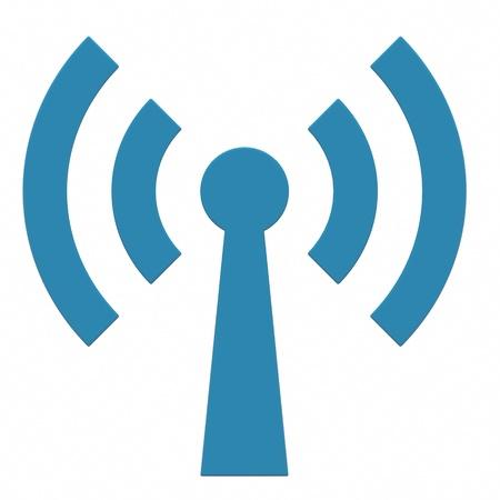 Resumen de la antena wi-fi en el fondo blanco. Imagen generada por ordenador. Foto de archivo