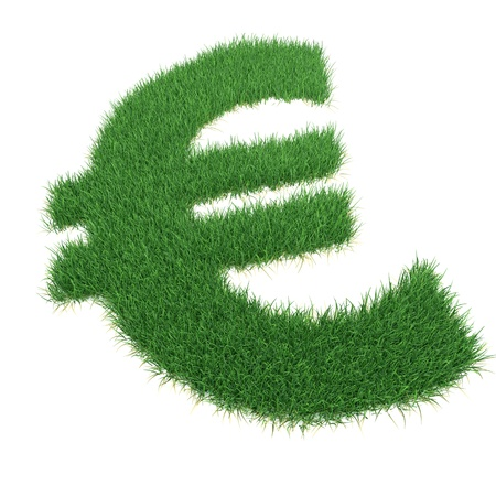 Grass euro sing on white background. Computer generated image. Stock Photo - 11701490
