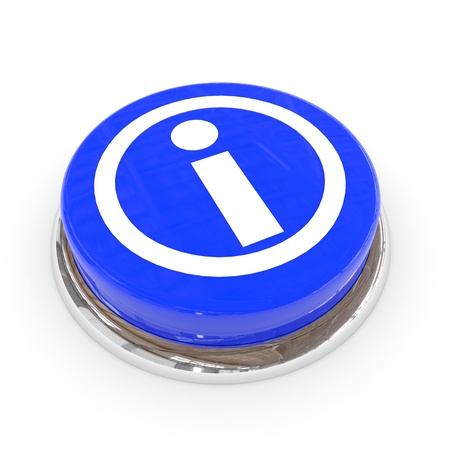 info button: Blue round button with information  sign. Computer generated image. Stock Photo