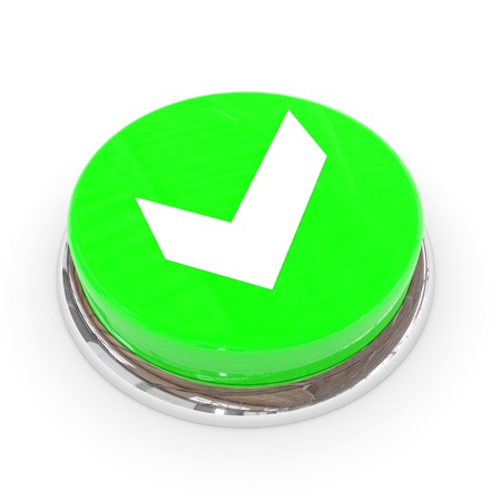 Green round button with white tick sign. Computer generated image. Stock Photo - 11701531