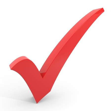 3D red checkmark on white background. Computer generated image. Stock Photo - 11701539