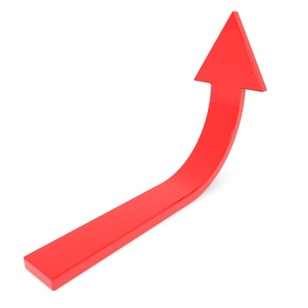 up arrow: Red arrow up. Concept of success, growth. Computer generated image.