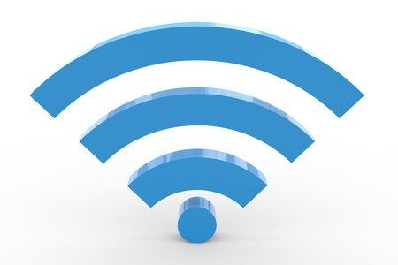 3 D の wifi の標識です。高信号。コンピューター生成イメージ。 写真素材
