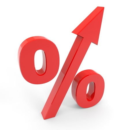 interests: Red percentage symbol with an arrow up. Computer generated image.