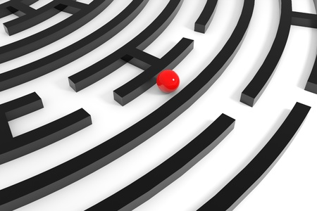 Red sphere in a maze. Computer generated image. Stock Photo - 11818174