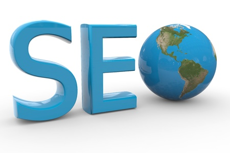 Blue word SEO with 3D globe replacing letter O. Computer generated image. photo