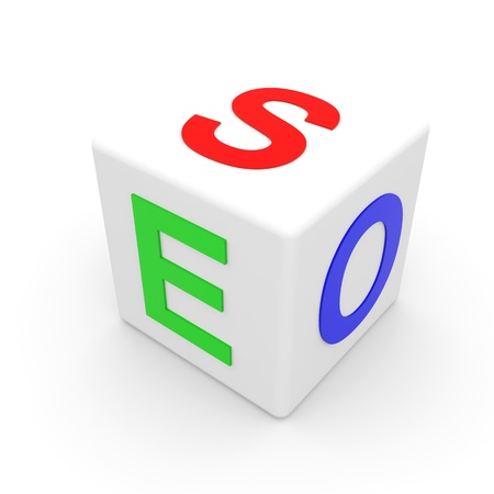 White SEO cube. Computer generated image.
