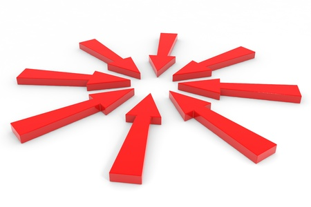 inwards: Red arrow pointing inwards.  Computer generated image.