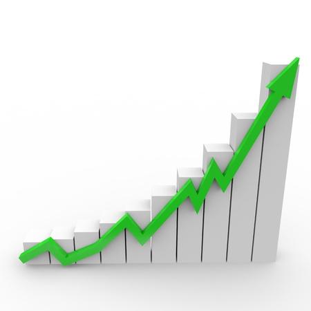 fleche verte: Graphe d'affaires � aller jusqu'� la fl�che verte Banque d'images